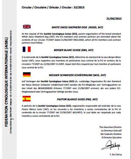 Sie finden die Originalversion des neuen Zirkulars in allen vier FCI-Sprachen hier aufgeschaltet im pdf Format.